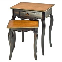 Safavieh Jasper Nesting Table with Drawer in Cherry and Black