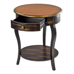 Safavieh Emma Round Side Table in Cherry and Black