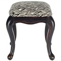 Safavieh Rebecca Zebra Wood Stool in Black and Zebra