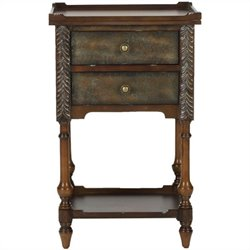 Safavieh Marge Birch and Iron Night Table in Dark Brown