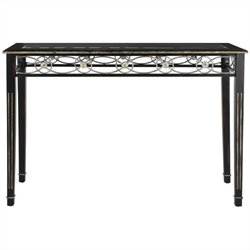 Safavieh Lisa Glass and Birch Console in Antique Black
