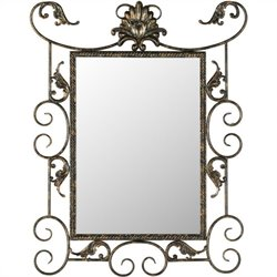 Safavieh Pamala Mirror in Brown and Gold