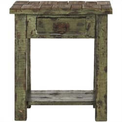 Safavieh Alfred Fir Wood End Table in Antique Green