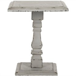 Safavieh Angela Fir Wood Pedastal Side Table in Antique White