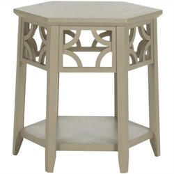 Safavieh Connor Bayur Wood Hexagon End Table in Pearl Taupe
