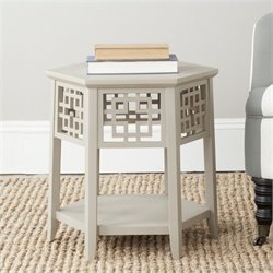 Safavieh Zelda Bayur Wood End Table in Pearl Taupe