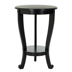 Safavieh Heather Wood Pedastal Side Table in Black