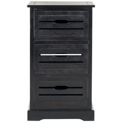 Safavieh Samara Pine 3 Drawer Cabinet in Black