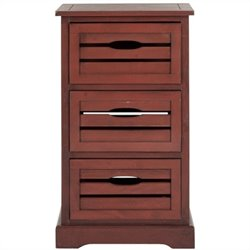 Safavieh Samara Pine 3 Drawer Cabinet in Red