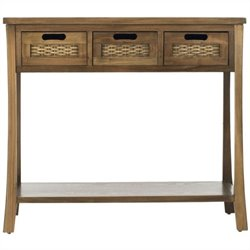 Safavieh Autumn Elm Wood 3 Drawer Console in Brown