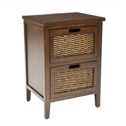 Safavieh Hanson Pine Wood Side Table in Walnut