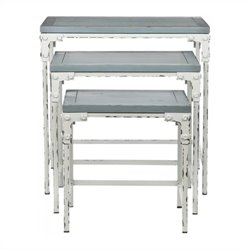 Safavieh Clark Pine Wood Stacking Tables in Gray and White