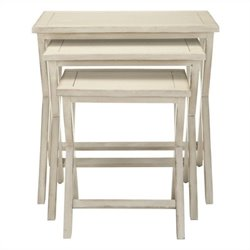 Safavieh Alan Poplar Wood Tray Tables in White Washed