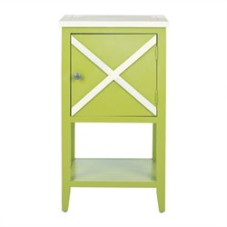 Safavieh Ward Poplar Wood Side Table in Green and White