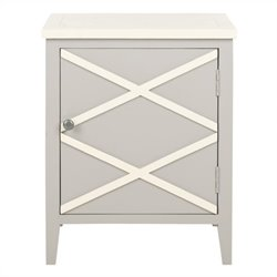 Safavieh Bernardo Poplar Wood Side Cabinet in Grey and White