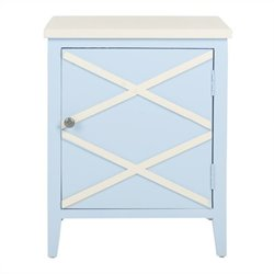 Safavieh Bernardo Poplar Wood Side Cabinet in Light Blue and White
