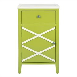 Safavieh Alan Poplar Wood End Table in Green and White