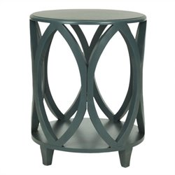 Safavieh Janika Pine Wood Accent Table in Dark Teal