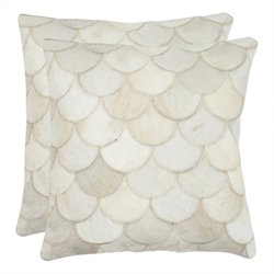 Safavieh Elita 18-inch Decorative Pillows in Cream (Set of 2)