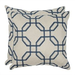 Safavieh Hayden 22-inch Decorative Pillows in Indigo (Set of 2)