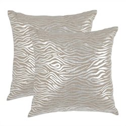 Safavieh Demi Pillow 18-inch Decorative Pillows in Silver (Set of 2)