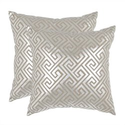 Safavieh Jayden Pillow 18-inch Decorative Pillows in Silver (Set of 2)
