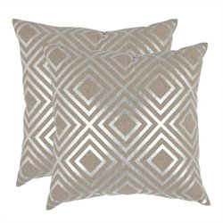 Safavieh Chloe Pillow 18-inch Decorative Pillows in Silver (Set of 2)