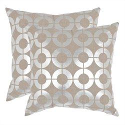 Safavieh Bailey Pillow 22-inch Decorative Pillows in Silver (Set of 2)