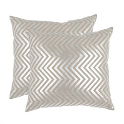 Safavieh Elle Pillow 18-inch Decorative Pillows in Silver (Set of 2)