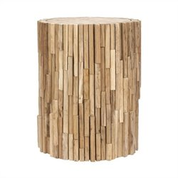 Safavieh Nico Teak Round Stool in Brown