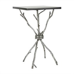 Safavieh Ben Granite Accent Table in Black and Silver