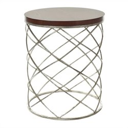 Safavieh Frank Iron and Wood Top Accent Table in Silver