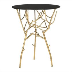 Safavieh Tara Iron and Glass Accent Table in Gold and Black