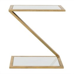 Safavieh Andrea Iron and Glass Accent Table in Gold and White