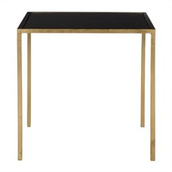 Safavieh Kiley Iron and Glass Accent Table in Gold and Black
