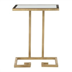 Safavieh Murphy Iron and Glass Accent Table in Gold and White