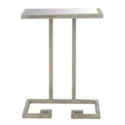 Safavieh Murphy Iron and Mirror Accent Table in Silver
