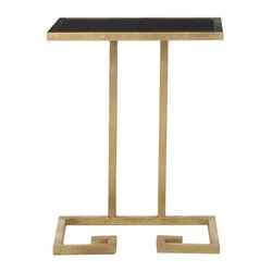 Safavieh Murphy Iron and Glass Accent Table in Gold and Black