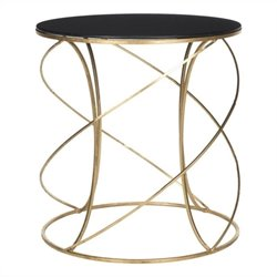 Safavieh Cagney Iron and Glass Accent Table in Gold and Black