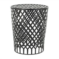 Safavieh Kenny Iron Strips Welded Stool in Black Epoxy