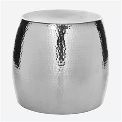 Safavieh Vanadium Aluminum Round Stool in Silver