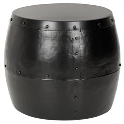 Safavieh Cerium Iron Drum Stool in Black
