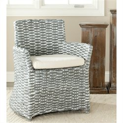 Safavieh Renee Rattan and Cotton Arm Chair in Gray