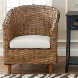 Safavieh Luz Mango Wood Barrel Chair in Honey