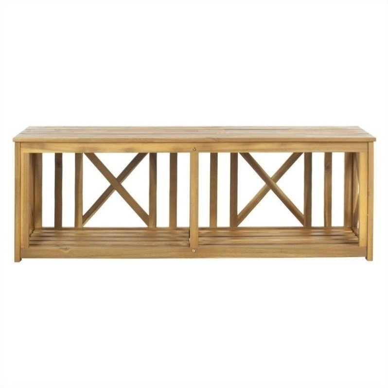 Safavieh Branco Steel and Acacia Wood Bench in Teak Color
