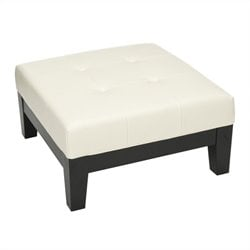 Safavieh Hamilton Beech Wood Square Leather Ottoman in White