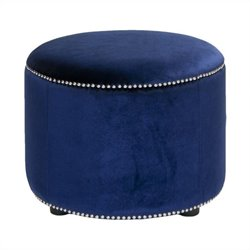Safavieh Louis Beech Wood Ottoman in Blue