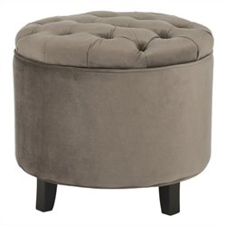 Safavieh Amelia Oak Tufted Storage Ottoman in Light Brown