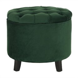 Safavieh Amelia Oak Tufted Storage Ottoman in Green
