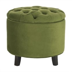 Safavieh Amelia Cotton Tufted Storage Ottoman in Fern
